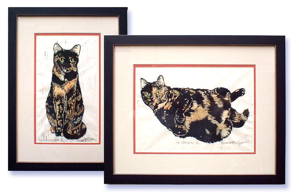 Celebrate Those Tortie Girls With a Set of Hand-tinted Linoleum Block Prints