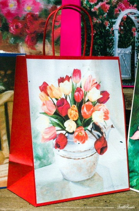 Tea for Tulips Gift Bag, Red