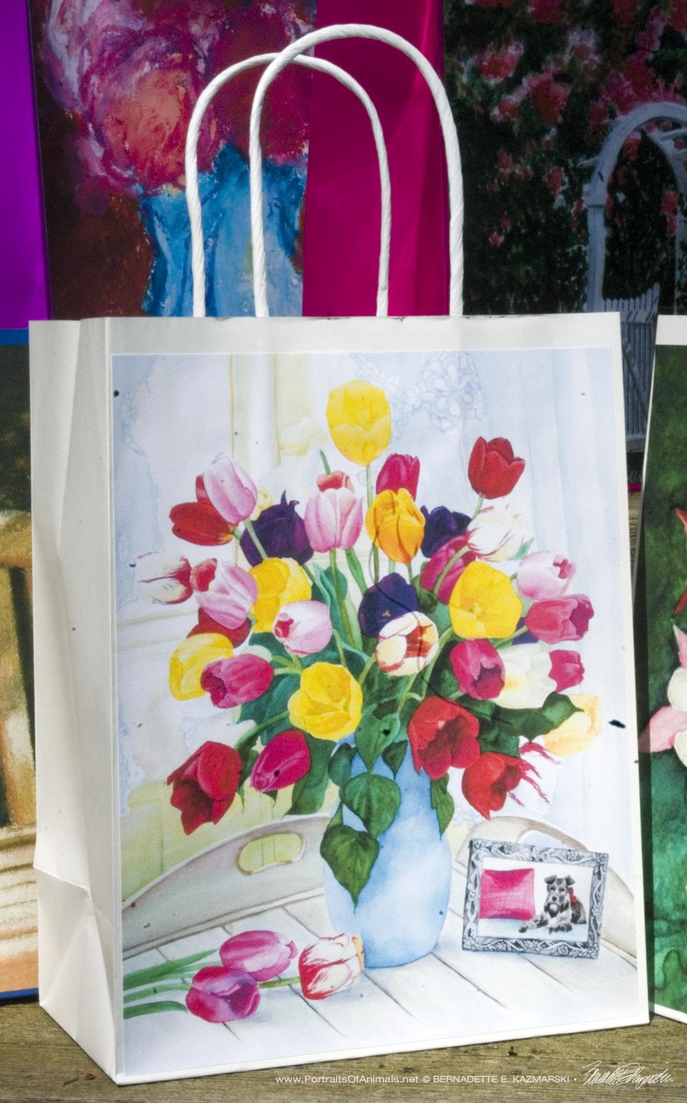 Veronica's Tulips Gift Bag, white