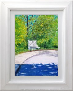 Bench in Spring, matted and framed.