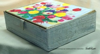 Veronica's Tulips Vintage Cardboard Cigar Box Keepsake, finish.