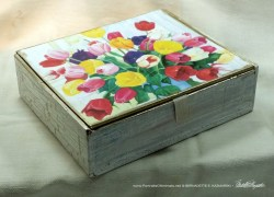 Veronica's Tulips Vintage Cardboard Cigar Box Keepsake