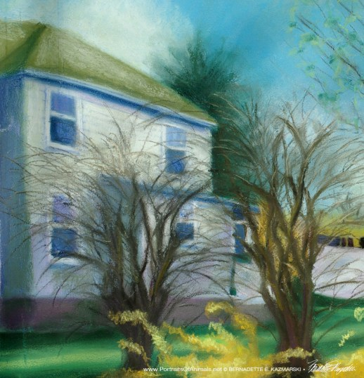 Detail of lilacs and house.