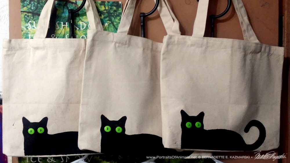 The first three Bella! tote bags I printed.