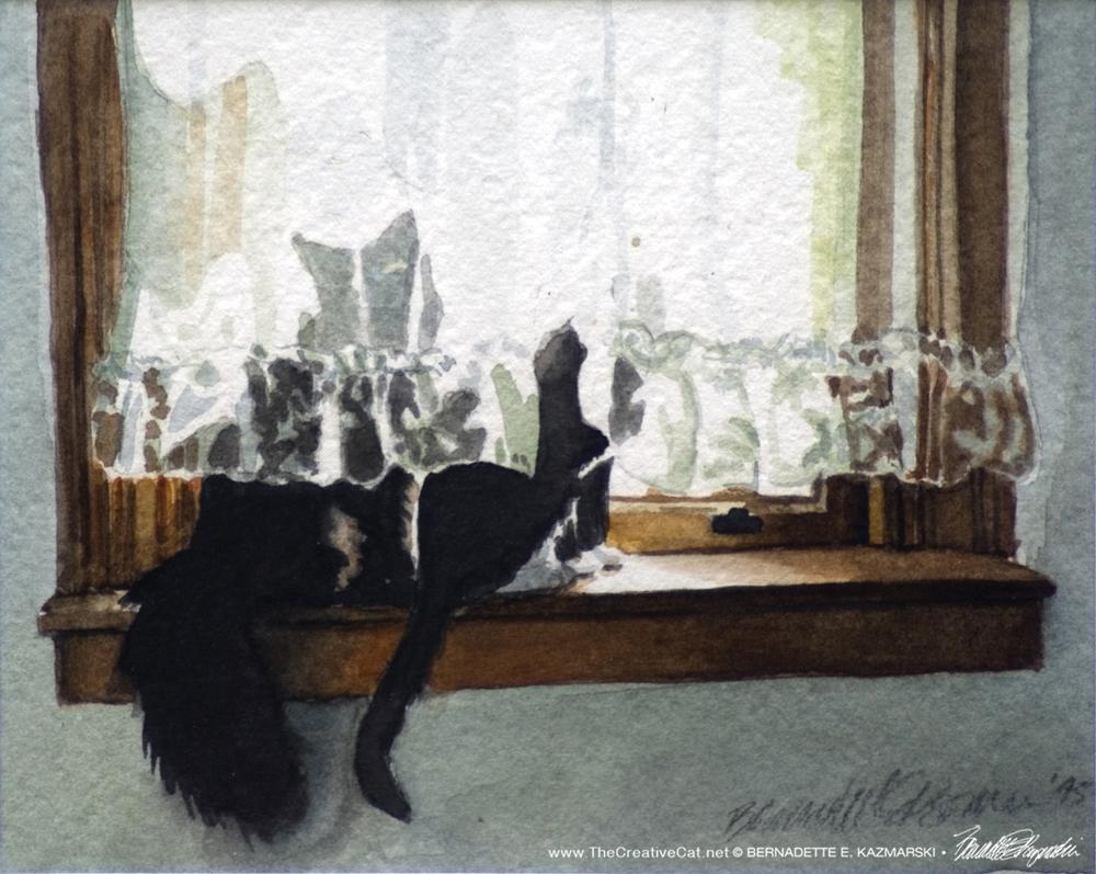 Kitty and Buster, watercolor, 4 x 5 © Bernadette E. Kazmarski