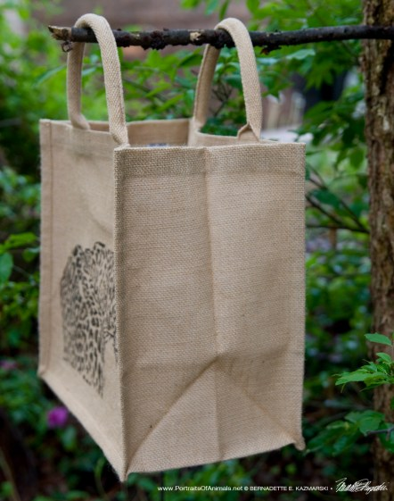 Side of tote bag.