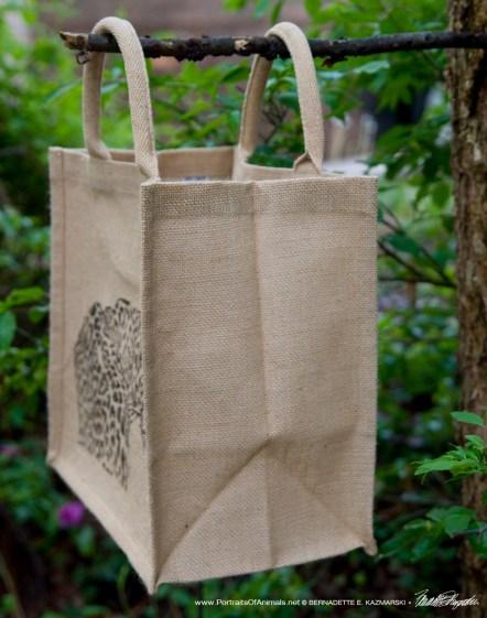 Side of tote bag.