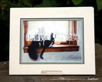 """""""Kitty and Buster"""" matted print."""