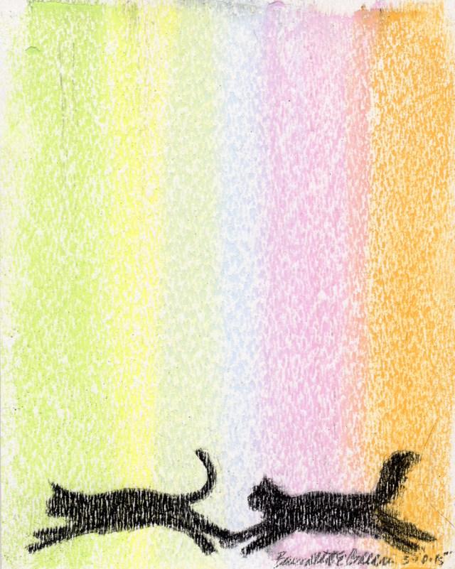 """The Daily Chase"", pastel on textured paper, 5″ x 6″ © Bernadette E. Kazmarski"