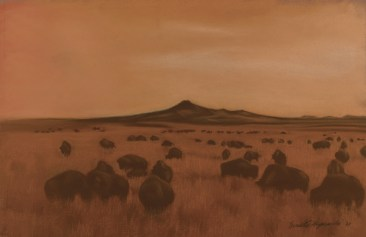 """""""Shadow of Bison """", pastel on 26.5"""" x 17.5"""" on Hahnemuhle sanded watercolor paper."""