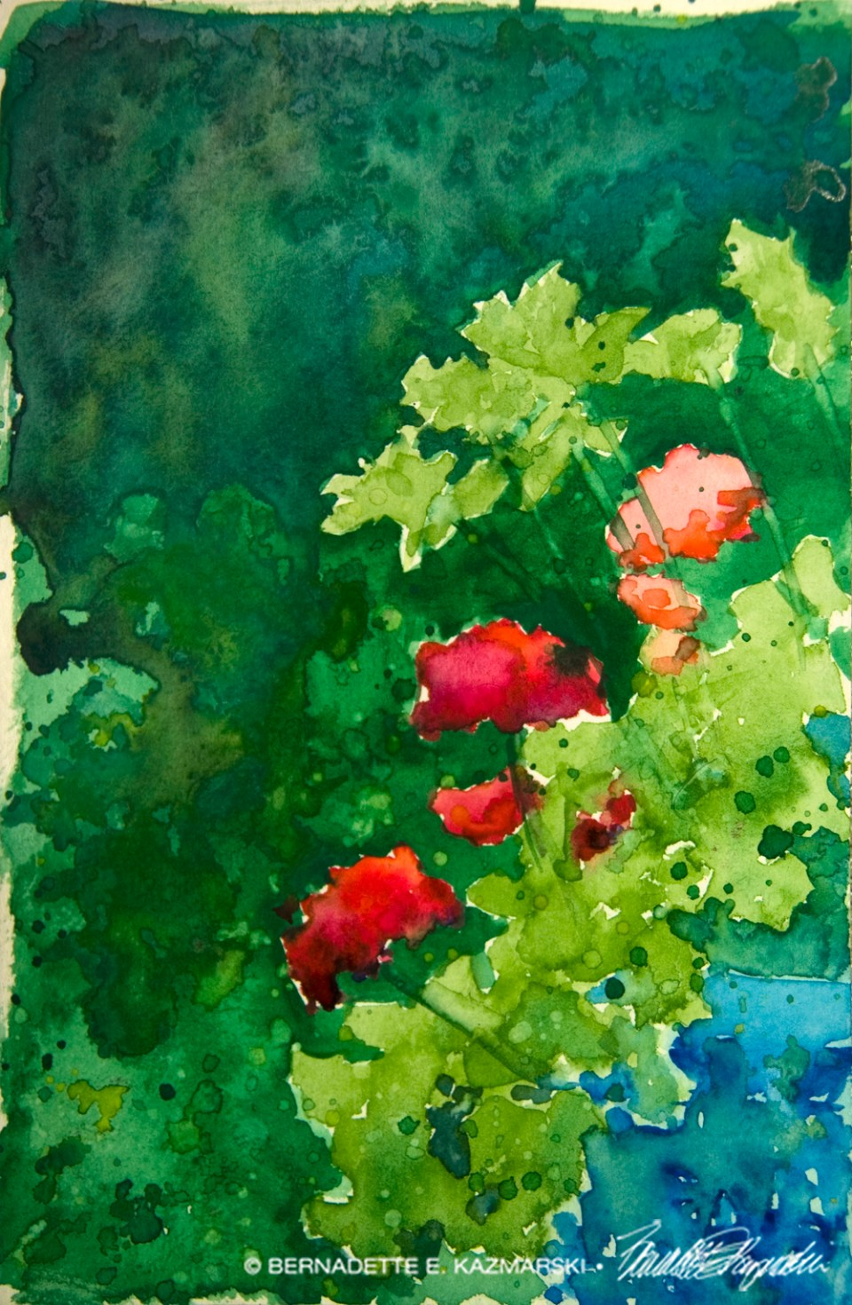 Geraniums and Parsley (uncropped), watercolor, 6 x 9 © Bernadette E. Kazmarski