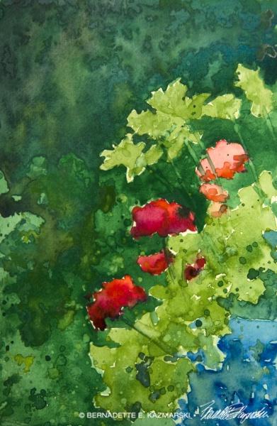 Geraniums and Parsley, watercolor, 6 x 9 © Bernadette E. Kazmarski