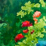 Geraniums and Parsley, watercolor, 6 x 9 © Bernadette E. Kazmarski