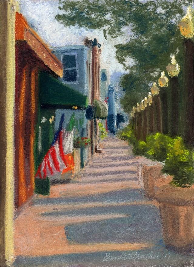 Main Street, September Morning, pastel, 8 x 11 © Bernadette E. Kazmarski