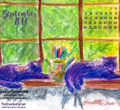 September Feline Desktop Calendar Wallpaper