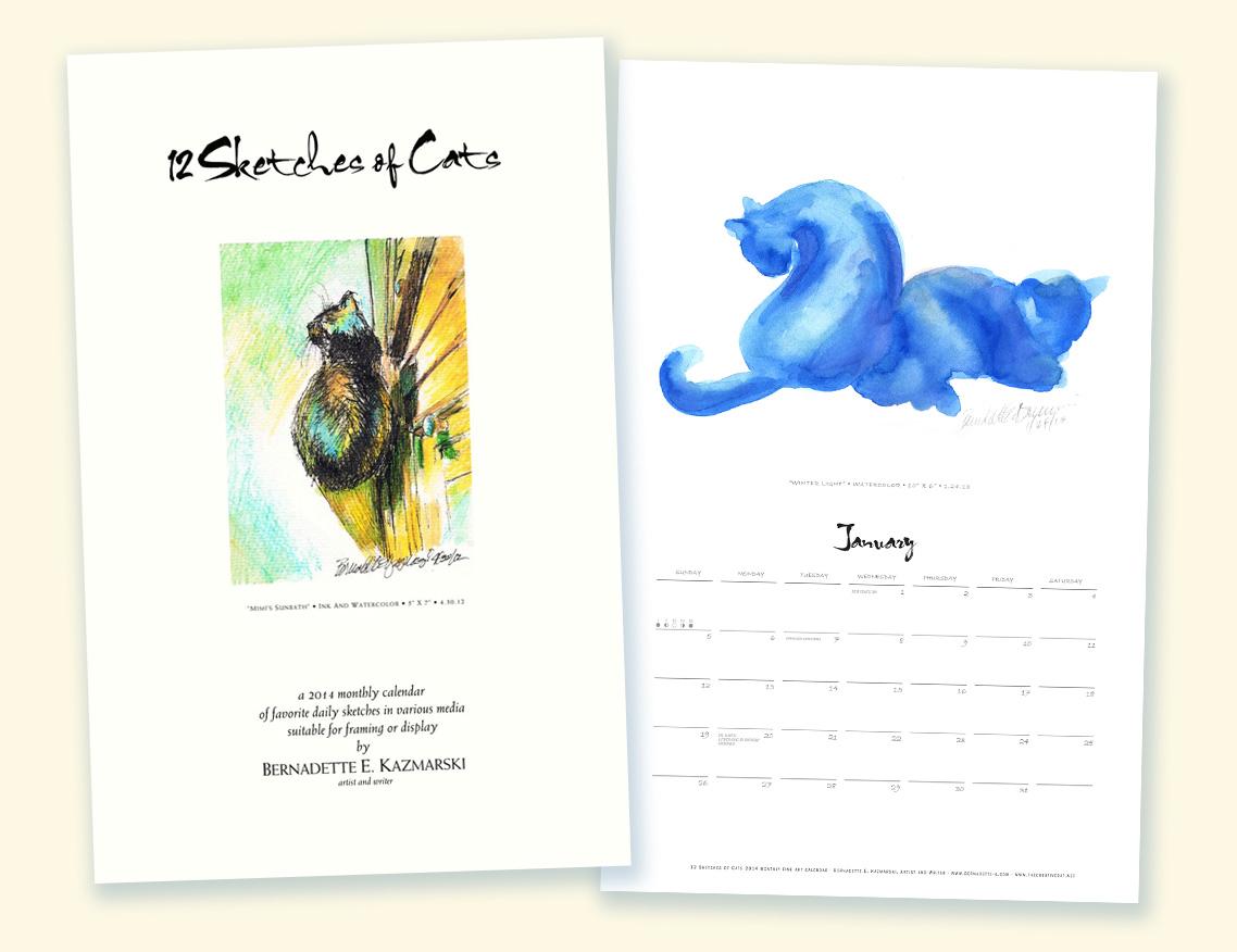 12 Sketches of Cats 2014 Calendar