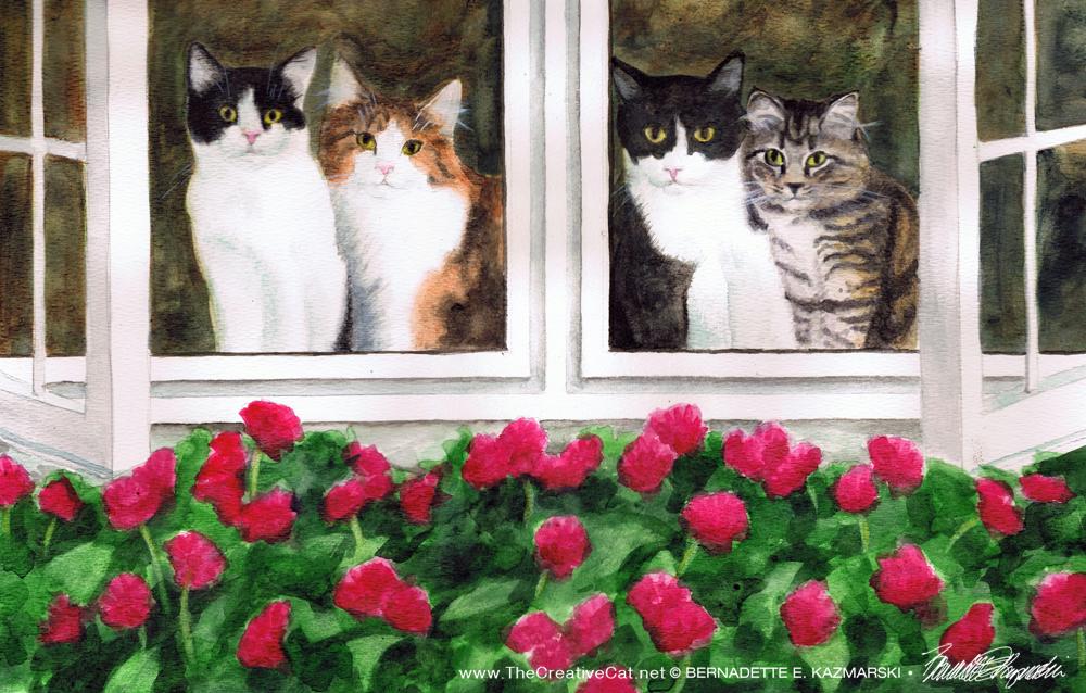 """Four Kitties Supervising Mom, 15"""" x 11"""", watercolor, 2011 © Bernadette E. Kazmarski."""