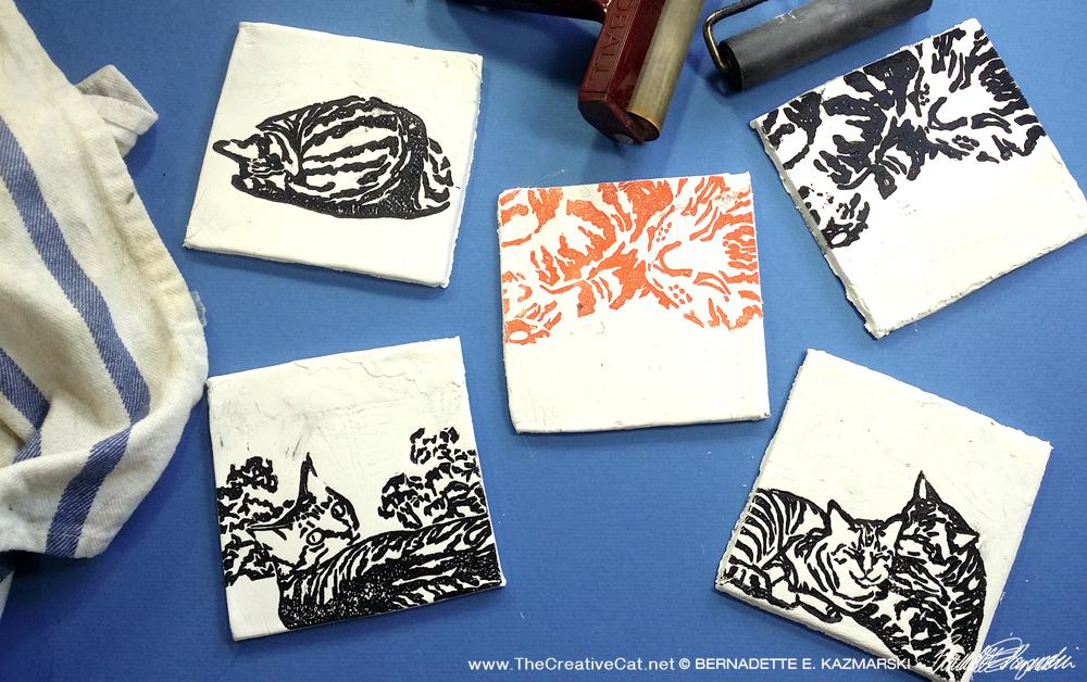 Rough tiles, handmade and handprinted.