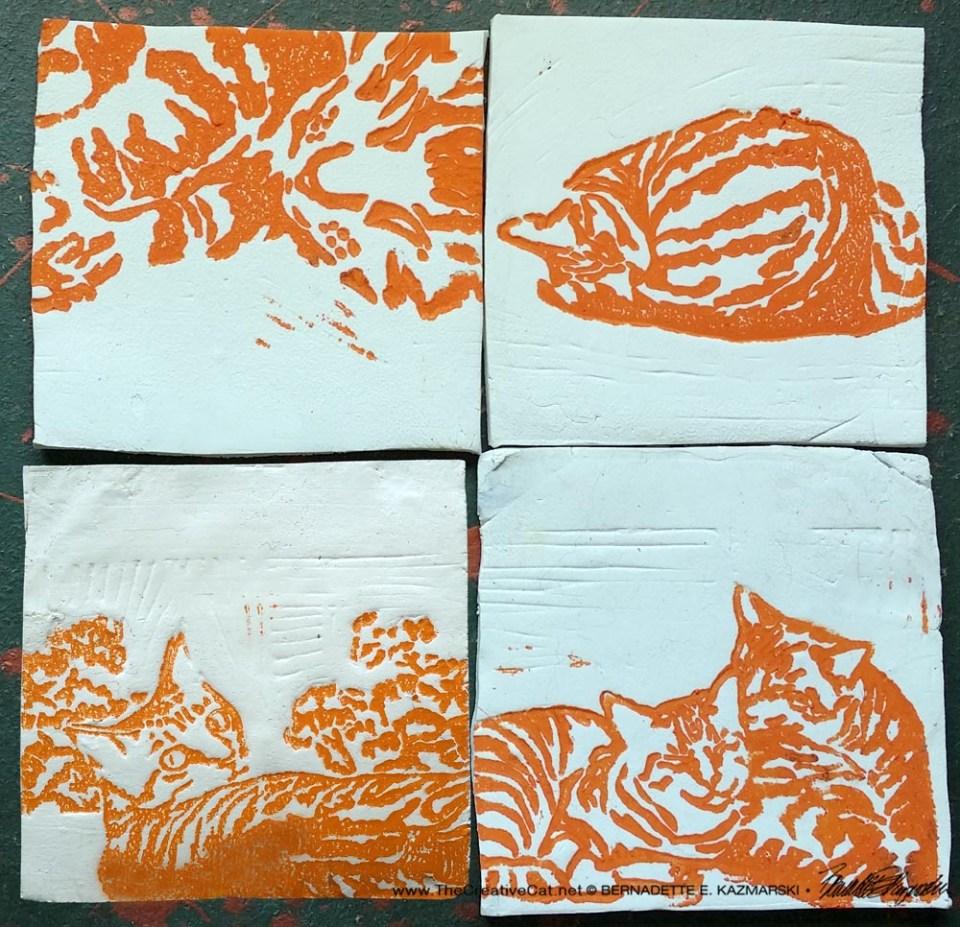 """""""Tabbies"""" tiles in orange."""