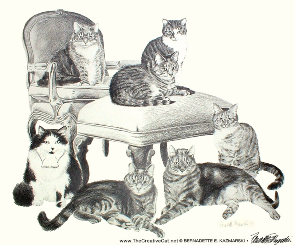 Igor, Matthew, Zoe, Biscotti, Angel, Noah and Toast, 18 x 24, pencil, 2005 © Bernadette E. Kazmarski