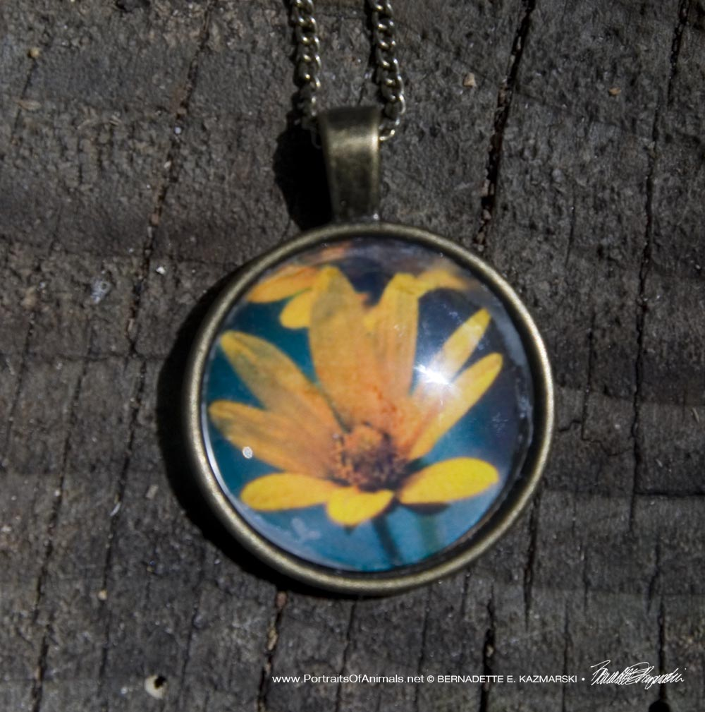 Cabochon Pendant, Woodland Sunflower