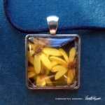 Three Sunflowers square cabochon.