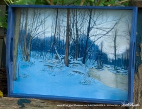 Dusk in the Woods wooden tray