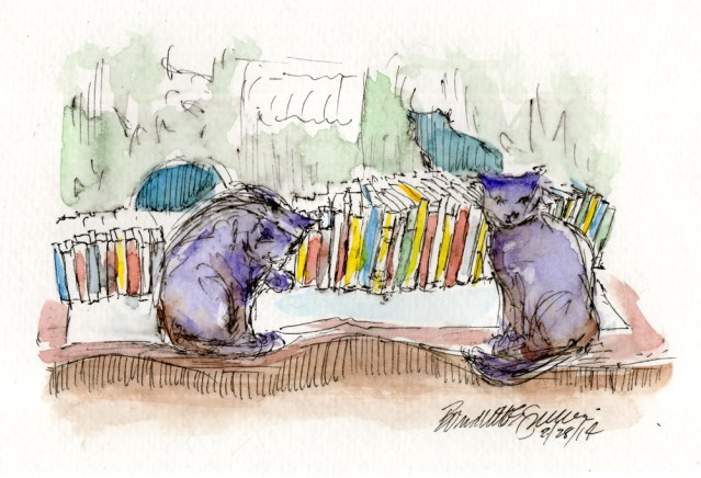 """Evening in the Cat Book Library"", 5"" x 7"", ink and watercolor © Bernadette E. Kazmarski"