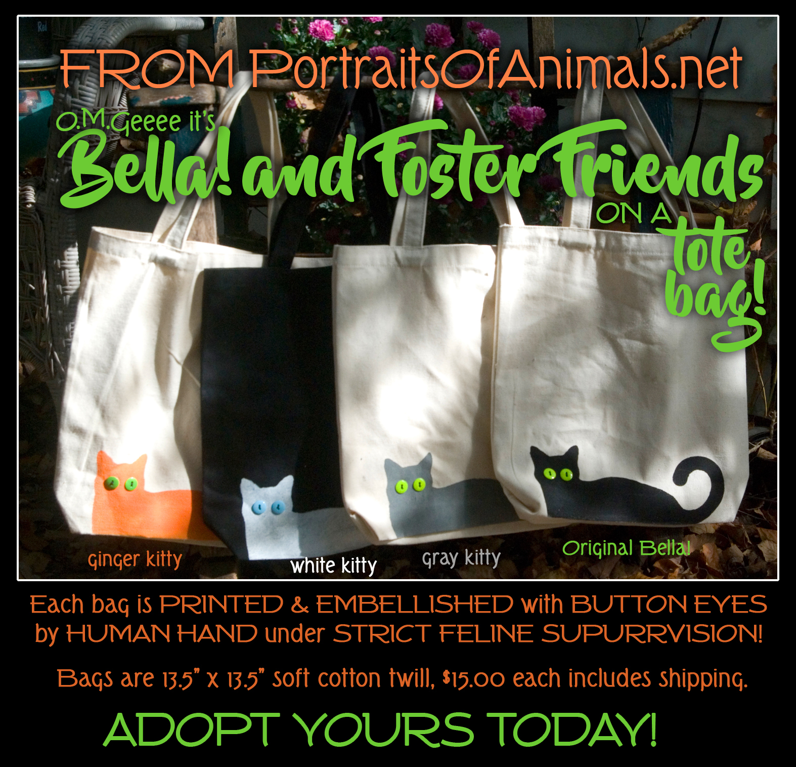 Bella and Her Foster Friends Tote Bags!