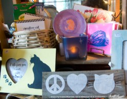 Pink and more! Coloring books, keepsake boxes, handprinted notecards, votives, feline frames, handpainted cat signs.