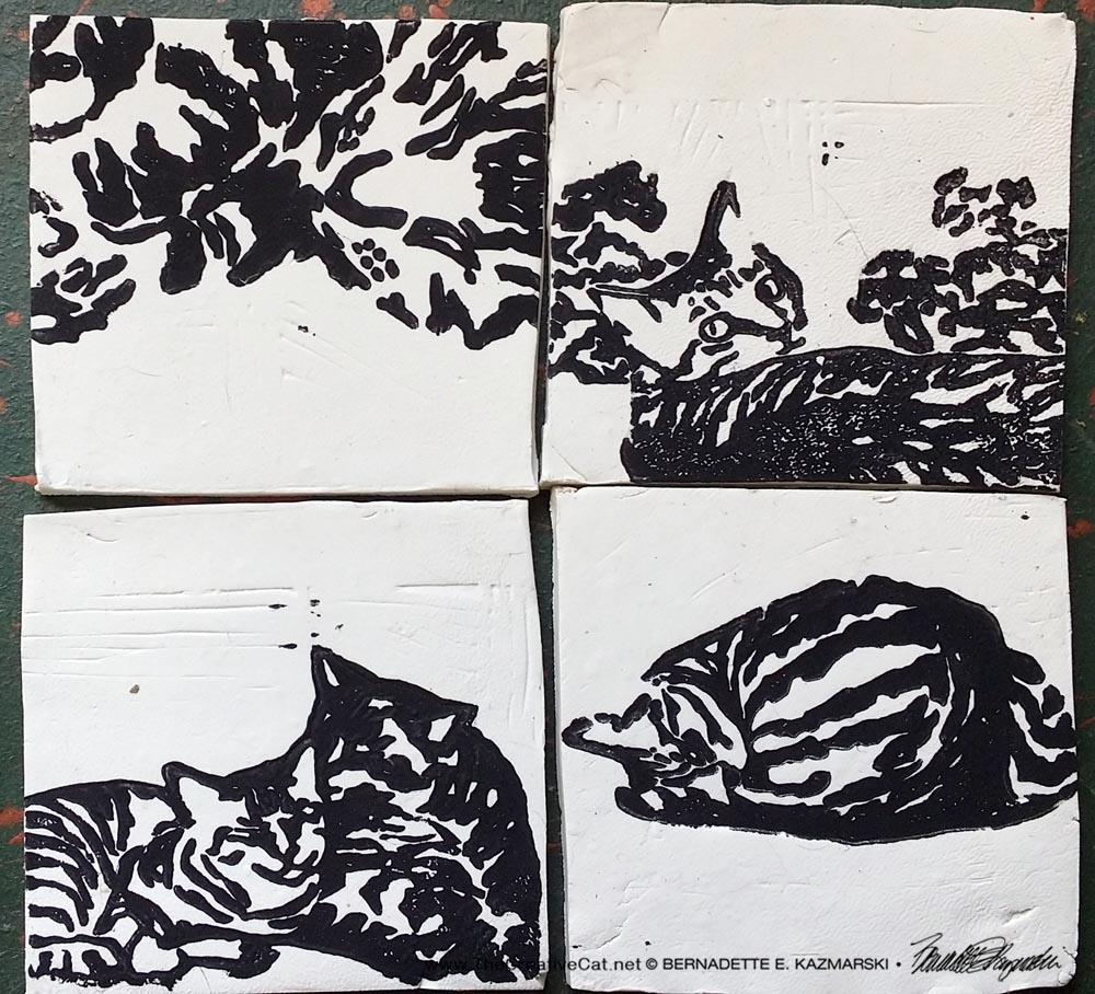 """""""Tabbies"""" tiles in black."""