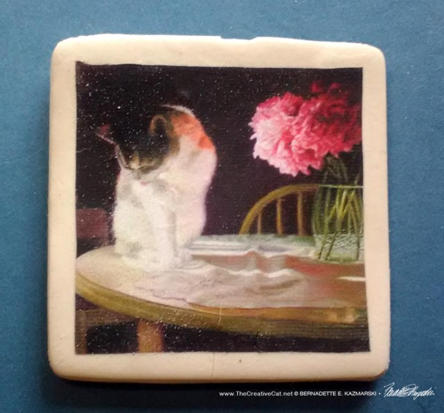 """Peaches and Peonies 2"""" square magnet"""
