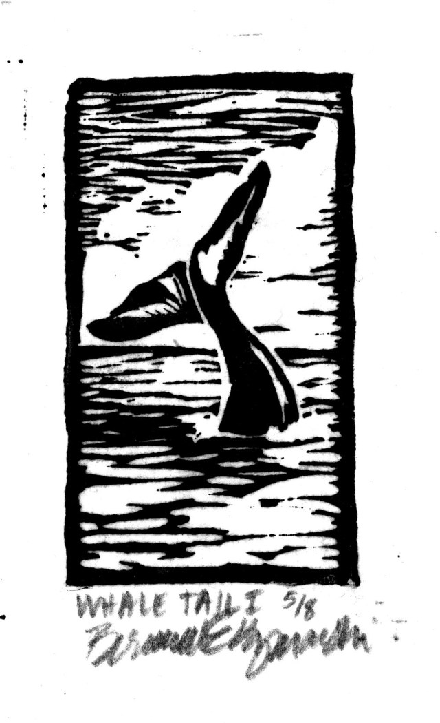 Whale Tail I, Linoleum Block Print