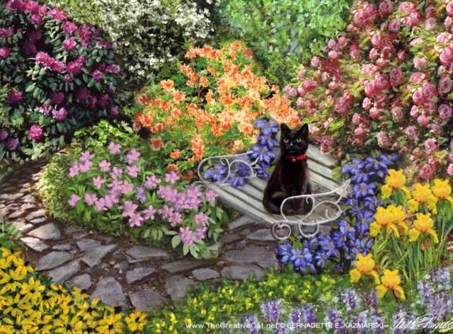 """""""Mimi in the Formal Garden"""", pastel, 8 x 10 © Bernadette E. Kazmarski"""