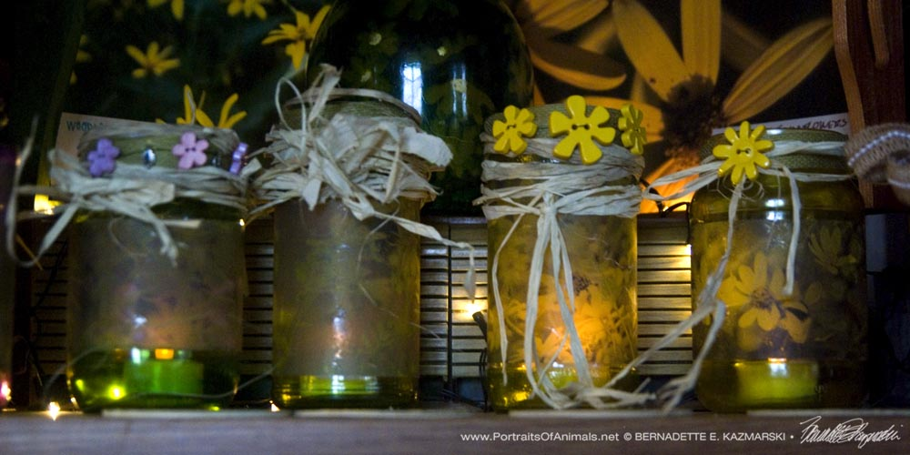Votives decorated for the season.