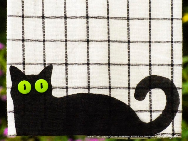 Bella! dishtowel on patterned towel, pattern C, large tattersall check..