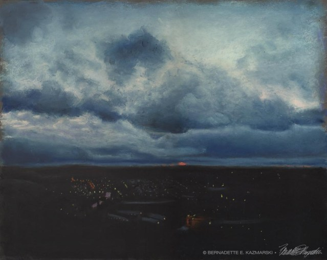 pastel painting of stormy sunset