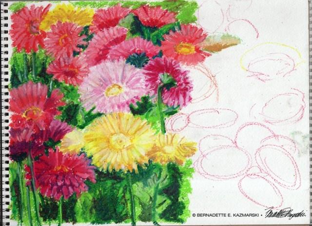Greenhouse Gerberas, oil pastel, 11 x 15 © Bernadette E. Kazmarski