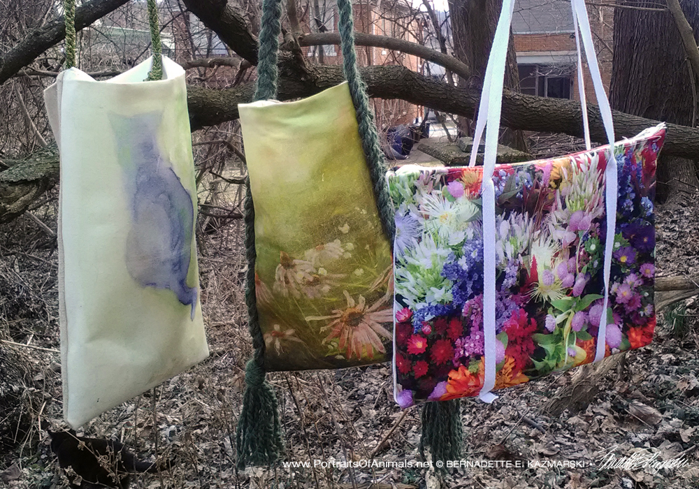 Three new bag designs, Blending, Evening Wildflowers and Market Flowers
