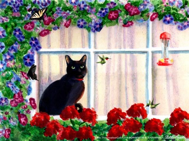 painting of black cat at window watching hummingbird