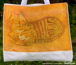Ginger Kitty Batik tote bag detail