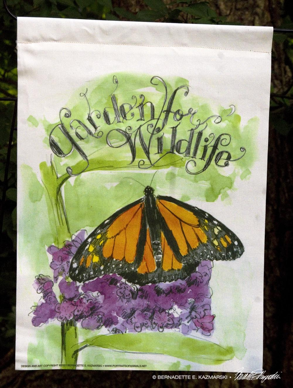 garden flag with flower and monarch butterfly