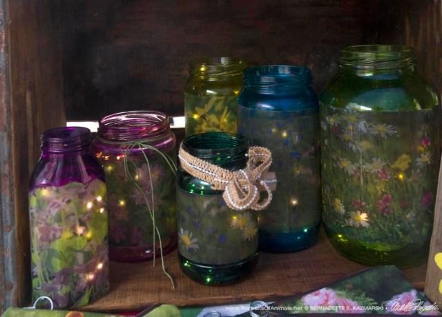 flowery glass jar votives