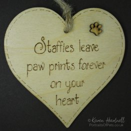 Staffies heart plaque
