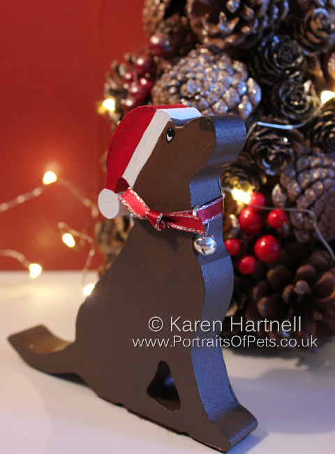 Christmas Chocolate Labrador, showing silver option