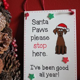 Christmas Santa Paws plaque