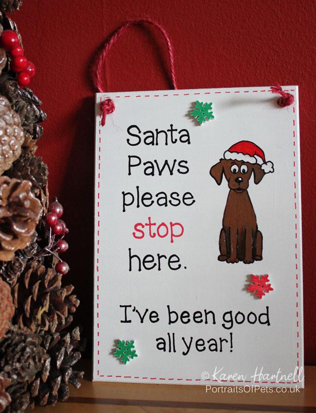 Christmas Santa Paws plaque