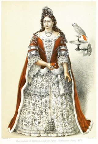 Duchess of Richmond and Lennox with her (stuffed) pet African grey parrot. Westminster Abbey Museum