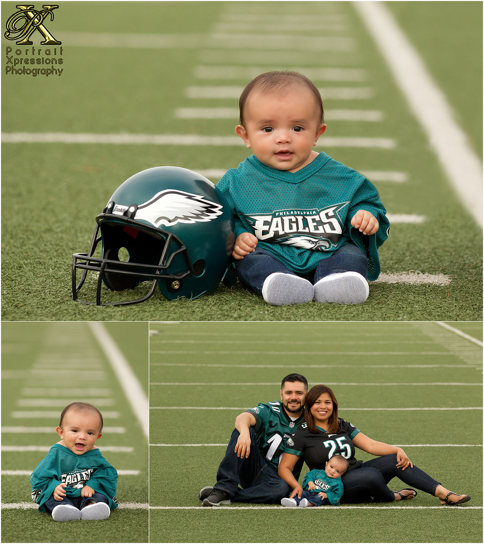 Philadelphia Eagles themed baby portrait session.