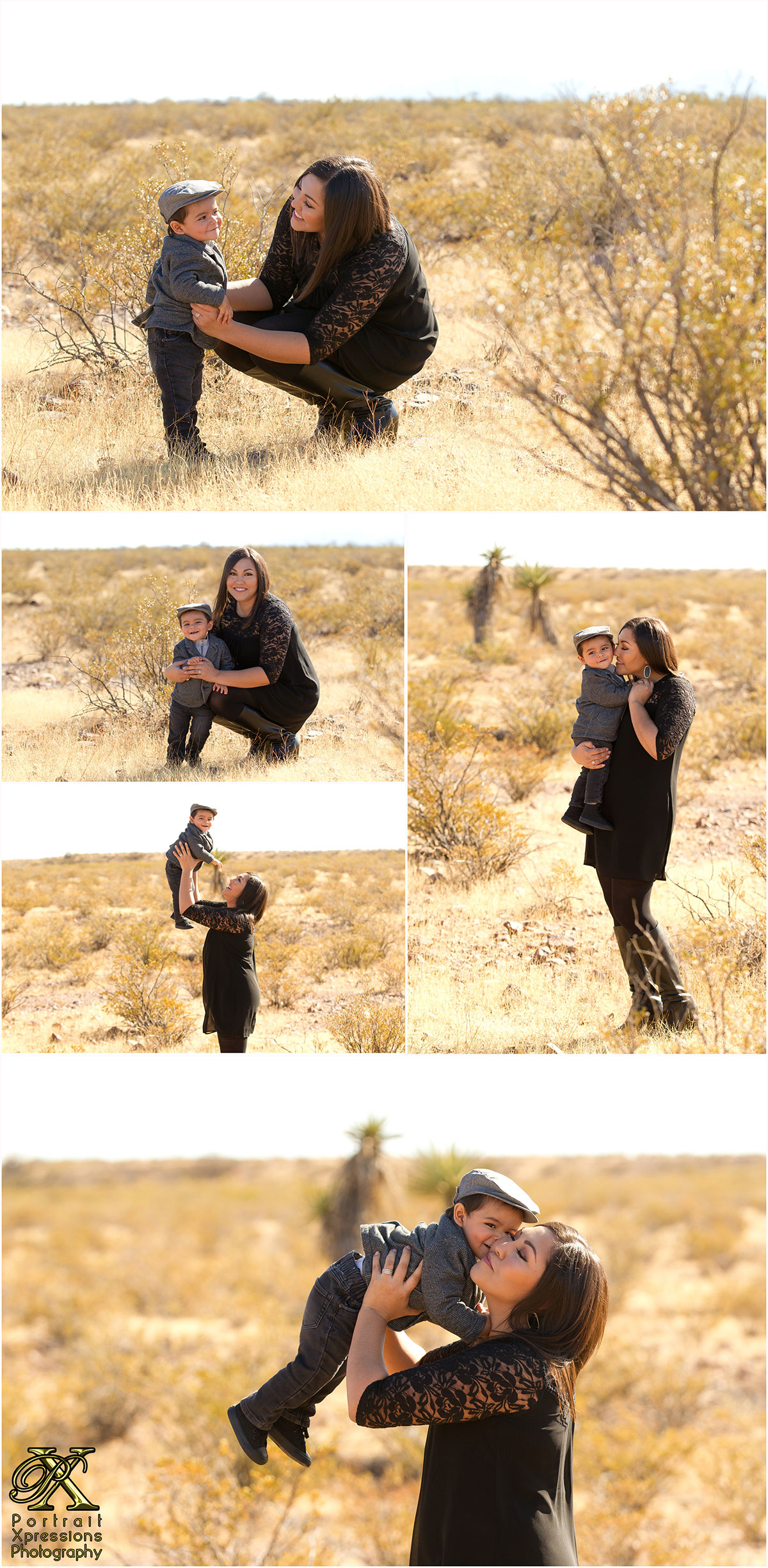Outdoor portraits of mom and son